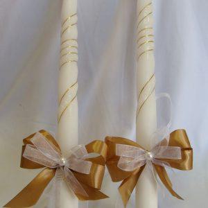 сватбени свещи със златно